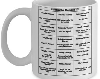 Funny Shit Mental Health Therapies 101 For Professionals, Social Workers 15 oz Gift Coffee Tea Send a Laugh