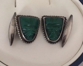 Tribal Aztec Cuff Links Mayan Mask Head Figural Warrior Face Carved Green Onyx Plata Mexico Sterling Silver 925 Cufflinks