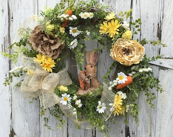 Spring Rabbit Wreath, Easter Wreath, Summer Wreath, Door Wreath, Primitive Spring Wreath, Farmhouse Wreath, Mantel Wreath, Country Wreath
