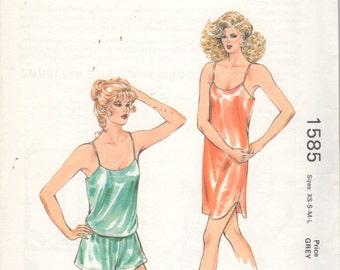 Kwik Sew 1585 80s Misses LINGERIE Pattern Camisole Wide Leg Panties Nightie Womens  Vintage Sewing Pattern Size xs s m l  Bust 31 - 41 UNCUT