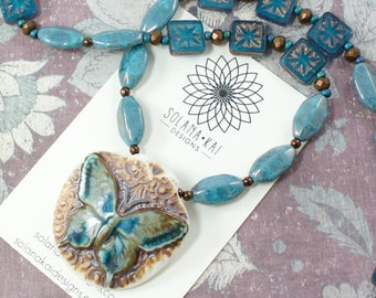 Butterfly Necklace For Women | Butterfly Jewelry For Women | Blue Bead Necklace For Her | Solana Kai Designs | Portland OR