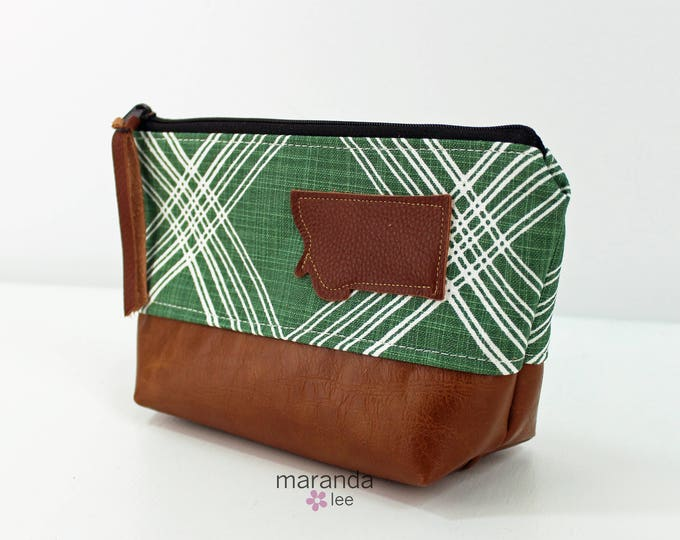 AVA Small Clutch - Colton Green with Montana Patch and PU Leather  READY to SHIp