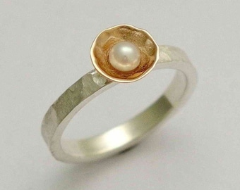 Sterling Silver Ring, rose gold ring, engagement ring, single pearl ring, twotone ring, hammered ring, dainty ring, Pure and innocent R1324A