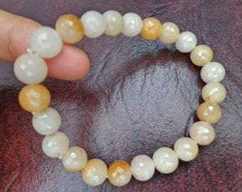 8.5 mm Crystal  gemstone faceted round bead bracelet. S519