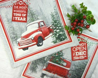 Quilted Cotton Fabric Trivets (2) Set #1 - Trucks at Christmas