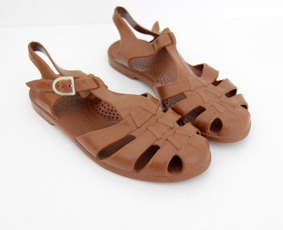 Brown Vintage Jellies Jelly Sandals 80's 6HxzF1vqn