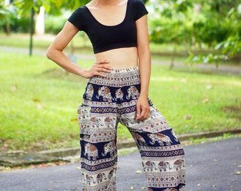 Elephant Print Thai Pants, Rayon Pants, Boho Strenchy Pants, Elastic Waist Clothing Beach Women Baggy Casual Navy Blue Color N182097