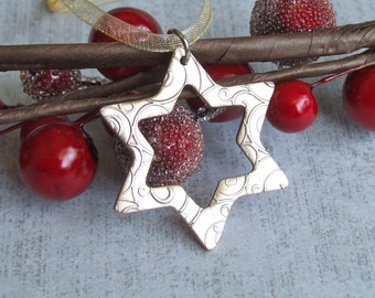 Gold Christmas Star Ornament, Unique Bronze Metal Hanging Ornament/Gift Tag, Handmade Metal Xmas Tree Decoration