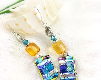 Fused dichroic glass earrings, dichroic jewelry, fused glass earrings, jewelry handmade, Hana Sakura, dichroic glass fusion, statement