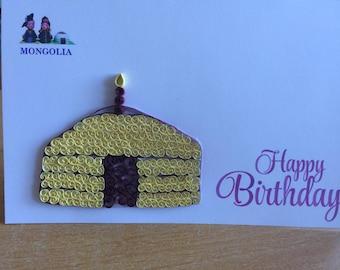 traditional Mongolian home shaped birthday cake.