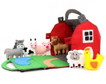 Barn and Farm Animals Pattern, Red Felt Barn, Felt Barnyard Animals Sewing Pattern, Hand Sewing
