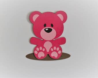 Pink Teddy Bear Die Cut