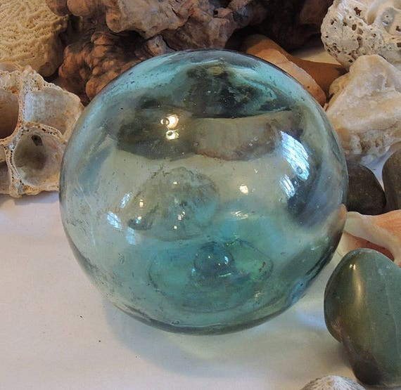 Vintage Japanese GLASS FISHING FLOAT.. Sky Blue & Many Bubbles (#43)