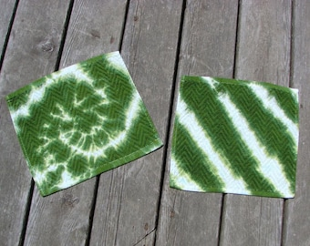 Tie Dye Washcloth Set (2) Avocodo Green & White Wash Rags - Swirl/Stripes