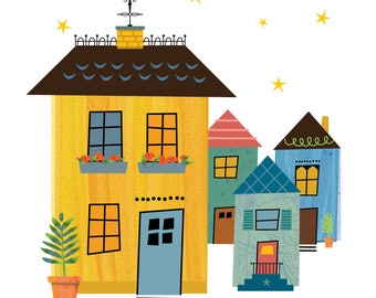 Neighbourhood Print, Children's Room Wall Art, Nursery Decor, Colorful Illustration, Whimsical Art