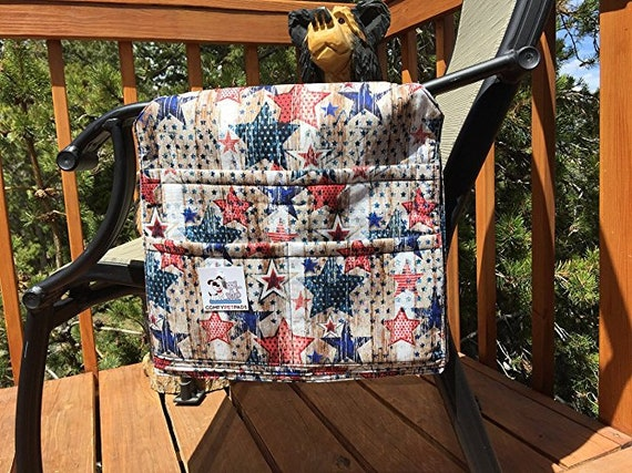 Stars and Stripes Patriotic Chair Caddy, Walker Bag, 4 of July Gifts, Size 13x13x27