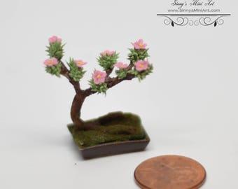 1:12 Dollhouse Miniature Bonsai in Bloom/Miniature Garden BD A205