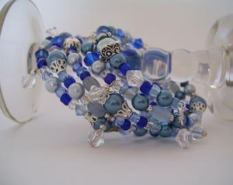 Shades of Blues Bracelet with Swarovski Accents