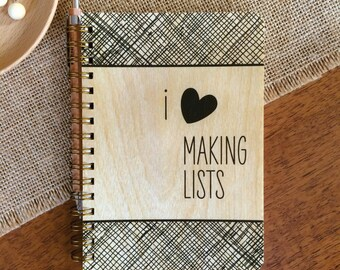 Making Lists Pocket-Size Notebook - Real Birch Wood Notebook - Jotter Notepad - J1747