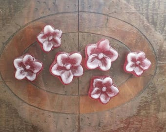 """Cabochon 1"""" to 1-1/2"""" Flowers Cranberry Pink White Glass Flower Art Cabochon Tile Gems"""