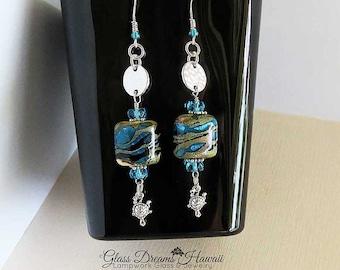 Sand and Sea Dangle Earrings, Handmade Lampwork Glass Beads, Silvered Ivory and Aqua, Turtle Charm, BOHO Earrings, Sterling Silver Findings