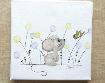 """Small canvas """"the little mouse and cricket"""""""