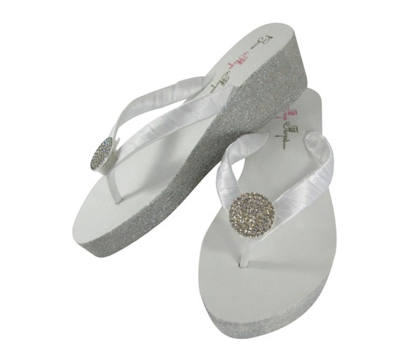 4931e6895 or with Silver Round Glitter Ivory Wedge Gold White Bridesmaid Bride heel  Sandal Flop Jewel Champagne ...