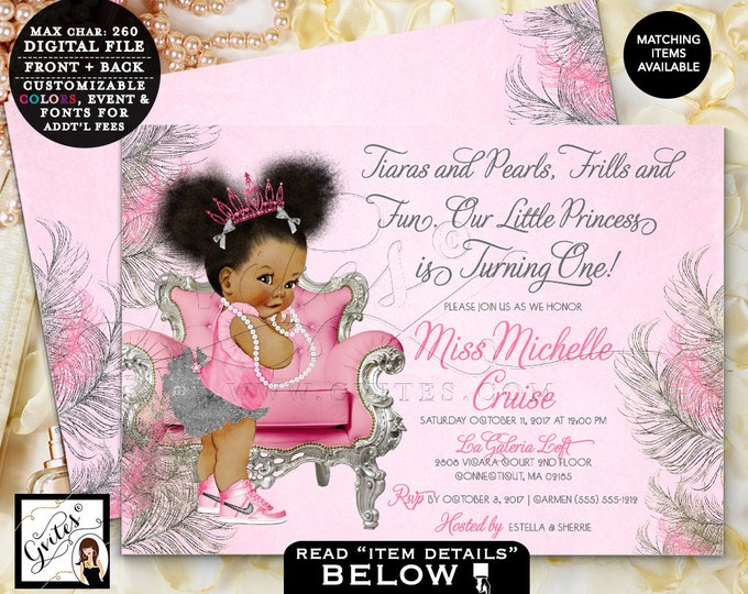 "Pink & Silver First Birthday Invitation, Afro Puffs Princess Birthday Baby Girl, Printable Invites, Digital File, 7x5"" Double Sided, Gvites"