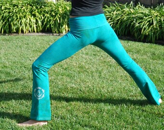 Tall Green Hand Dyed Yoga Pants with Optional Hand Painted Chakra Design including Extra Long and Plus Sizes by Splash Dye Activewear