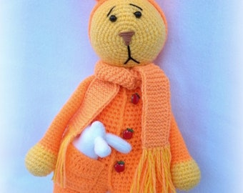 Knitted rabbit Bunny Crochet toy Children toy The orange hare Big rabbit Toy of acrylic Rabbit with carrots Hare in a scarf Hapless hare