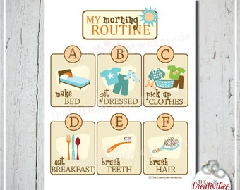 Morning Routine Chart | Printable Routine Chart | Orange | Chore Chart | Children's Routine Chart | Daily Routine | Instant Download