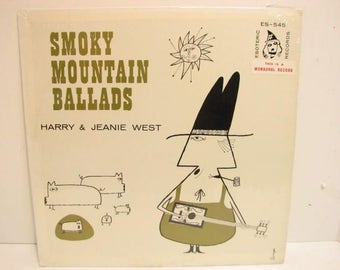 Harry & Jeanie West Smoky Mountain Ballads, Vintage Vinyl Record LP on Esoteric ES-545 Mono Private Press in Shrink, Bluegrass Country