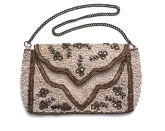 Vintage Beaded Purse | Evening Bag | Soft Salmon Pink | Chain Strap | Glove Strap / Handle