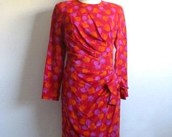 Vintage SCASSI 80s Silk Dress Red Floral Silk Ruched 1980s Designer Dress 6