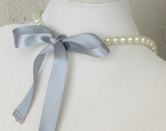 ON SALE Pick Your COLOR BRIDESmaid Gift Ivory Pearl Single Strand Ribbon Bow Tie BRIdal WEDDing Maid Of Honor Necklace By DYEnamite