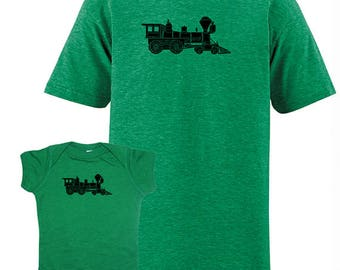 Matching Father Baby Shirts, Train T shirts, Fathers Day gift idea, new dad shirt, father daughter, gift for dad from baby, son set