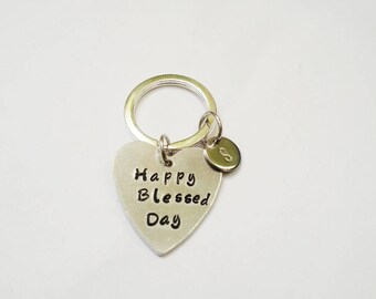 Happy Blessed Day Keychain, Hand stamped keychain, Gift idea, initial keychain