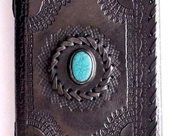 Handmade Distressed Black Leather Journal with Turquoise Stone, Notebook, Travel, Diary, etc..