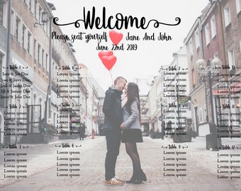 Your Photo wedding (Or other event) seating chart poster