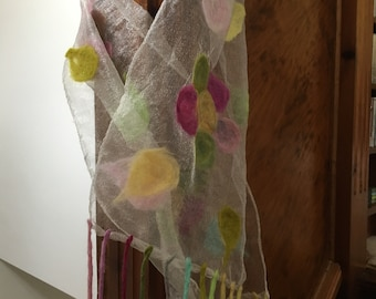 Scarf With Wet-Felted Flowers On White Polyester Gauze