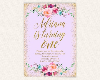 Floral 1st birthday printable invite, purple gold glitter birthday invitation, lavender confetti first birthday invitation, 5x7 jpg 34a