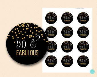 Black and Gold Fifty and Fabulous Cupcake Toppers, Fifty and Fabulous Tags, Printable 50 and fabulous sign BS483