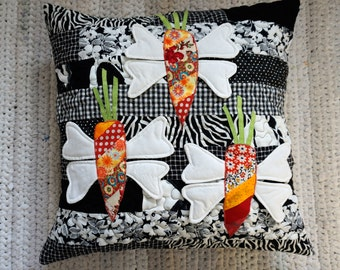 Black and White Decorative Pillow, Funny Cushion, Patchwork Pillow, Carrots Pillow Cover, Gift for Vegetarian, Unique Sofa Pillow Case