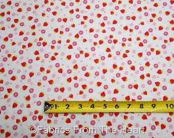 Strawberrys Daisy Starburst Toss Cupcakes Cafe on White BY YARDS Studio E Fabric