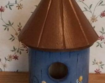 Round Birdhouse, Indoor Birdhouse, Wooden Birdhouse, Decorative Birdhouse, Kitchen Decoration, Blue Round Birdhouse,
