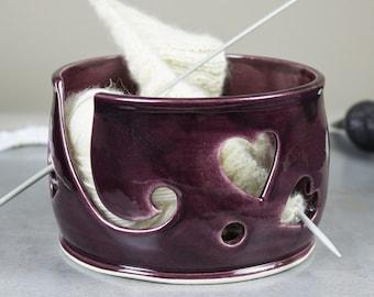 Purple Heart Yarn bowl,  MADE TO ORDER Knitting Bowl, Yarn holder Crochet Bowl, bright eggplant knit Storage Organizer, BlueRoomPottery