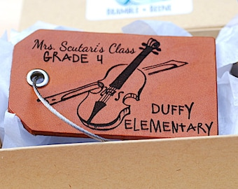 Violin instrument Tag, Back To School Child ID TAG, Elementary School,  Identification, Personalized