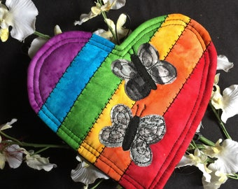 Rainbow Heart quilted ornament, Diversity tribute, A celebration of equality and love, Diversity heart, Quilted ornament,  Rainbow heart #16