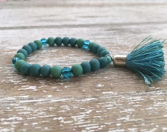 Beaded Bracelet with Tassel: SEA BREEZE (Aqua)
