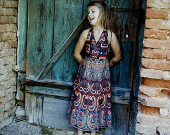 Retro Mandala Dress, Beautiful Summer Dress with Mandala Pattern, Mandala Retro Mitwachs-Kleid, Schönes Sommer Kleid mit Mandala Muster